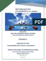 """Evidencia 3.2. Análisis de Caso """"Generalidades de La Oferta y La Demanda"""""""