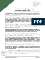 Declaración Institucional Sobre La Psicología Coaching