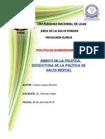 7. Ámbito de La Política, Estructura de La Política de Salud Mental CARLOS FABIAN LOAIZA BRICEÑO