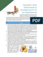 Seguridad Y Salud Laboral Desde La Psicología Social Y de Las Organizaciones