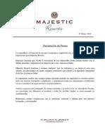 Declaración de prensa de Majestic Resorts