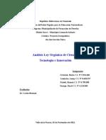 Analisis Ley Organica de Ciencia Tecnologia y Evaluacion