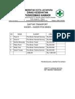 Daftar Transport Pos Bindu