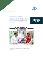Análisis de Las Propuestas Del Plan de Gobierno de Juan Carlos Varela vs Ejecución
