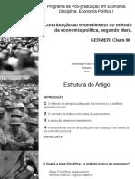 Apresentação Contribuição ao entendimento do método da economia política, segundo Marx