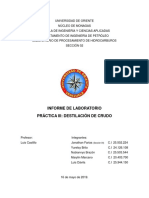 Informe de Laboratorio. Destilación de crudo