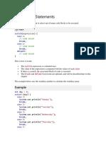 Java Switch Statements
