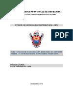 Plan de Trabajo de La Division de Fiscalizacion Tributaria Mpu 1