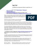 Oxford Physics Reading List