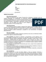 Informe Descriptivo Psicopedagogico Robert Jimenez 8 Años 2do Grado Escuela Niño Don Simon