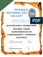 Carga Almacenada en Un Condensador y Corriente Electrica