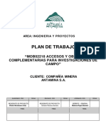 """Plan de Trabajo """"Mob02218 Accesos y Obras Complementarias Para Investigaciones de Campo"""""""