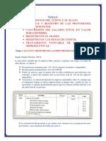 Cálculo y Registro de Las Provisiones Para Beneficios