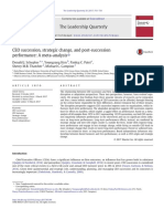 CEO Succession, Strategic Change, And Post-succession Performance- A Meta-Analysis