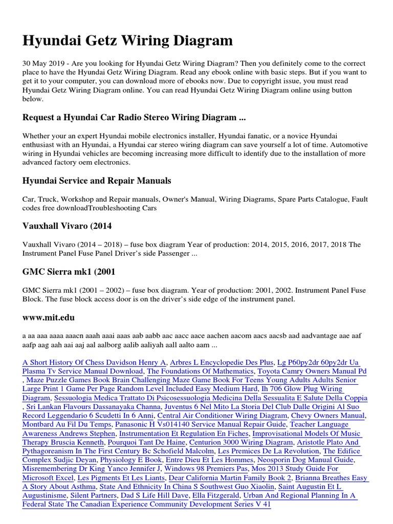 hyundai getz wiring diagram simple | pdf | business  scribd
