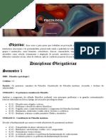 Psicologia Unifor - Grade Curricular