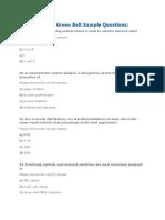 ASQ Six Sigma Green Belt Sample Questions