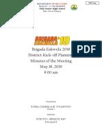 Brigada Eskwela 2019 Minutes of the Meeting District Kick Off