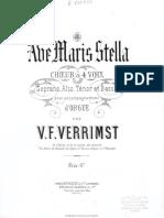 Ave maris stella [Música notada] - choeur à 4 voise soprano, alto, ténor et basse avec accompagnement d'orgue, de Victor Frédéric (1825-1893), 1879