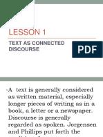 Text as a Connected Discourse