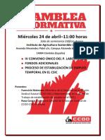 Asamblea CCOO 24 Abril