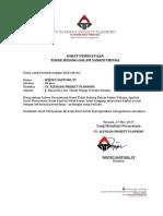SP-1 Pernyataan Tidak Dalam Sanksi Pidana