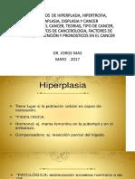 Hiperplasia, Hipertrofia, Metaplasia, Displasia y Cancer