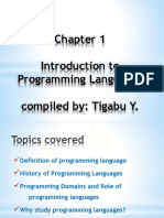 Introduction to Programmin Lanuages
