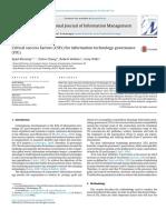Critical Success Factors (CSFs) for Information Technology Governance (ITG)