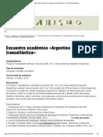 Encuentro Académico «Argentina Transatlántica»