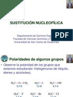 SUSTITUCIÓN NUCLEOFÍLICA. Departamento de Química Orgánica Facultad de Ciencias Químicas y Farmacia Universidad de San Carlos de Guatemala