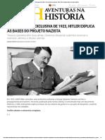Aventuras Na História · Em Entrevista Exclusiva de 1923, Hitler Explica as Bases Do Projeto Nazista