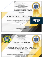 Award Certificates by Sir Tristan Asis