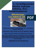 Reparos e reconfiguração de Módulos Injeção eletrônica, Ecu, Imobilizadores (21)989163008