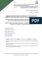 Implementación de Las Tecnologías de La Información y Comunicación en Las PYMES de La Zona 4 Del Ecuador y Su Impacto en La Competitividad Empresarial