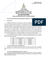 Forecast of the Onset Date of Southwest Monsoon - 2019 Over Kerala