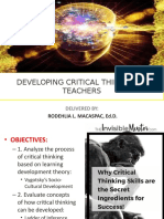 How to foster Critical Thinking