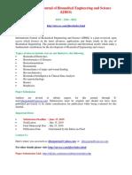 International Journal of Biomedical Engineering and Science (IJBES)