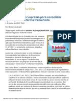 ConJur - Anuário_ TST Depende Do STF Para Consolidar Aplicação Da Reforma