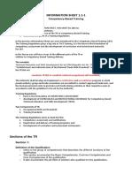 Information Sheet 1.1-2 Training Regulations