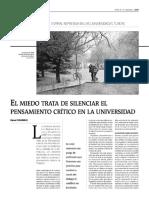 El miedo trata de silenciar el pensamiento crítico en la universidad