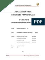 3º Informe - Determinación de Tiempo Óptimo de Molienda