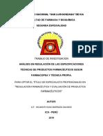 Análisis en Regulación de Las Especificaciones