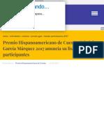 Noticias Premio Hispanoamericano de Cuento Gabriel García Márquez 2017 anuncia su listado de partici