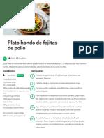 Plato Hondo de Fajitas de Pollo