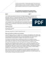 Medical Use of Marijuana Act Health Care Professional Authorization