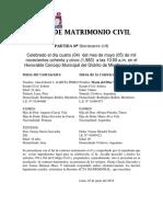 Acta de Matrimonio Civil Alan Garcia
