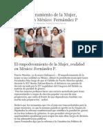 El empoderamiento de la Mujer, realidad en México- Fernández P