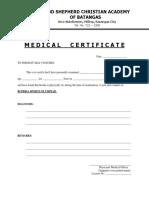 Bscprisa Medical Certificate