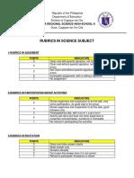 Rubrics in Science Activities